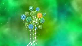 Árbol ecológico de los iconos Recicle, reduzca, reutilice ilustración del vector