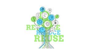 Árbol ecológico de los iconos Recicle, reduzca, reutilice 4K ilustración del vector