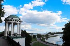 Árbol en campo El terraplén de Volga es la perla de Yaroslavl Parque encendido foto de archivo