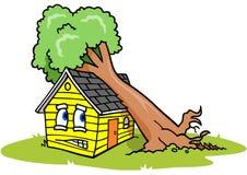 Árbol en casa ilustración del vector