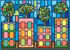 ?rbol en el vitral de Moses de la ciudad stock de ilustración