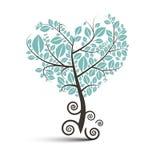 Árbol en forma de corazón con las raíces encrespadas ilustración del vector