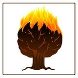 Árbol en icono del fuego Imagenes de archivo