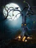 Árbol espeluznante con los cráneos ilustración del vector