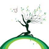 Árbol estilizado bajo la forma de muchacha Imágenes de archivo libres de regalías