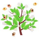 Árbol estilizado con las hojas verdes Fotos de archivo
