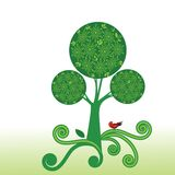 Árbol estilizado de la flor con el pájaro stock de ilustración