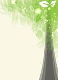 Árbol estilizado de la tarjeta futurista con leafage Ilustración del Vector