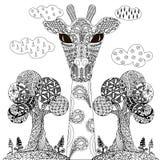 Árbol estilizado monocromático dibujado mano del enredo del zen, ejemplo común del vector de la jirafa para el web libre illustration