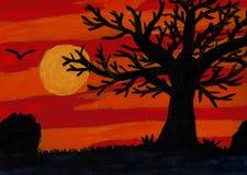 Árbol extensamente ramificado en una puesta del sol - pintura de acrílico Fotos de archivo