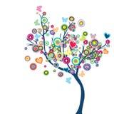 Árbol feliz coloreado con las flores y las mariposas Fotografía de archivo