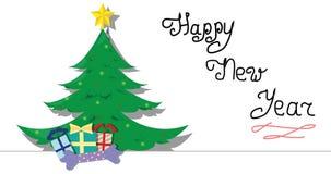 Árbol festivo de la Navidad y del Año Nuevo y regalos de Navidad con la muestra manuscrita de una animación de la historieta de l almacen de video