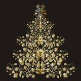 Árbol floral de la Navidad o del Año Nuevo Imágenes de archivo libres de regalías