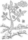 Árbol floral del garabato libre illustration