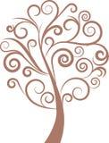 Árbol floral del remolino decorativo, vector Imagenes de archivo