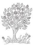 Árbol floreciente en estilo del garabato ilustración del vector