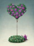 Árbol floreciente en la dimensión de una variable del corazón. Saludo Imagen de archivo