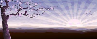Árbol floreciente y el starling Imagenes de archivo