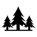 Árbol forestal salvaje de los pinos de la silueta ilustración del vector