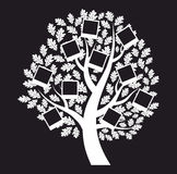 Árbol genealógico de la familia en el fondo negro, vector Imagenes de archivo