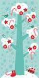 Árbol grande del diseño de tarjeta de la Feliz Navidad con la nieve blanca en las ramas, los pájaros y las decoraciones rojas de  Foto de archivo libre de regalías