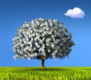 Árbol hecho de cientos billetes de banco del dólar stock de ilustración
