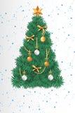 Árbol hermoso de la tarjeta de felicitación de la Navidad stock de ilustración