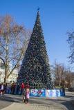 Árbol hermoso del Año Nuevo en el centro de Krasnodar Fotos de archivo libres de regalías
