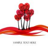 Árbol hermoso del vector con los corazones Imagen de archivo