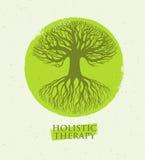 Árbol holístico de la terapia con las raíces en fondo de papel orgánico Concepto amistoso natural del vector de la medicina de Ec Imágenes de archivo libres de regalías