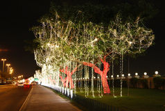 Árbol iluminado hermoso en el día nacional Foto de archivo