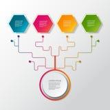 Árbol infographic del negocio del vector con la etiqueta del papel 3D, círculos integrados Espacio en blanco para el contenido, n stock de ilustración