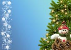 Árbol Muñeco de nieve Copos de nieve garland Año Nuevo o backgrou de la Navidad Fotos de archivo libres de regalías