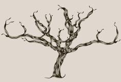 Árbol muerto drenado mano ilustrado estilizado Imagenes de archivo