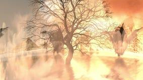Árbol muerto en el agua y al lado de las pirámides ilustración del vector