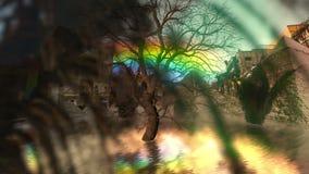 Árbol muerto y arco iris y plumas que brillan intensamente libre illustration