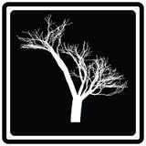 Árbol negro del blanco del icono trama stock de ilustración