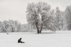 Árbol nevado viejo grande y un pescador imagen de archivo
