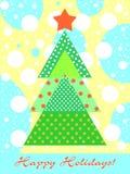 Árbol ornamental colorido Tarjeta del día de fiesta con muchos detalles stock de ilustración