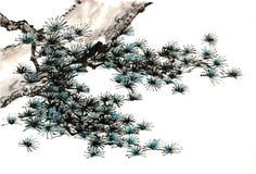 Árbol pintado a mano decorativo magnífico distinguido tradicional chino del tinta-pino fotos de archivo