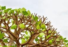 Árbol plástico con las hojas de las etiquetas engomadas Fotografía de archivo