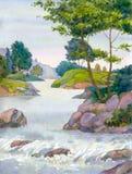 Árbol por una secuencia de la montaña Imagen de archivo libre de regalías