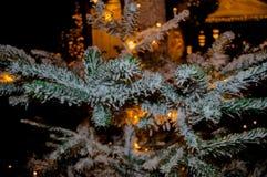 Árbol precioso del día de fiesta de la Navidad Nevado fotografía de archivo