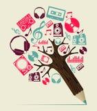 Árbol retro del arte del concepto de la música Fotografía de archivo libre de regalías