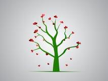 Árbol rojo del corazón Imagen de archivo