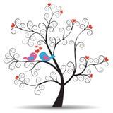 Árbol romántico con los pájaros de los pares del inlove stock de ilustración