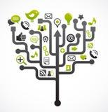 Árbol social de la red con los iconos de los media imagen de archivo