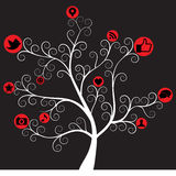 Árbol social del icono de los media Fotos de archivo libres de regalías