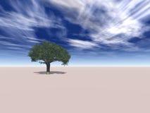 Árbol solitario en desierto ilustración del vector