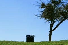 Árbol solo con trashcan Fotos de archivo libres de regalías